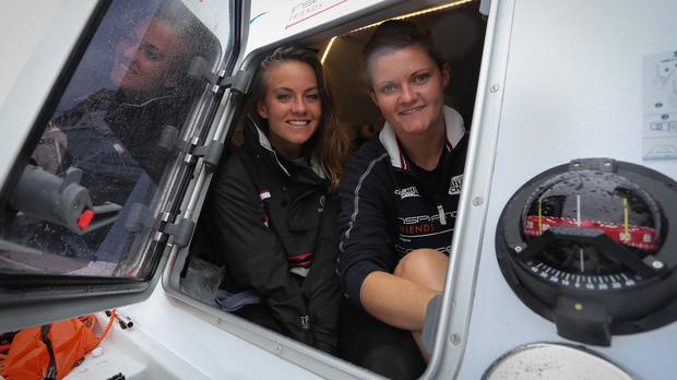 Lauren Morton (left) and Hannah Lawton previously took part in the rowing race