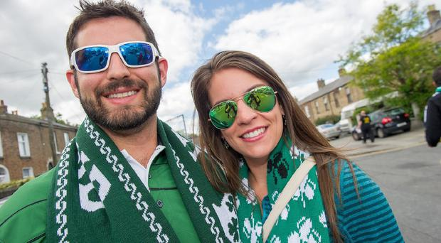 Irish football fans ahead of the international friendly match between the Republic of Ireland vs England at the Aviva Stadium in Dublin