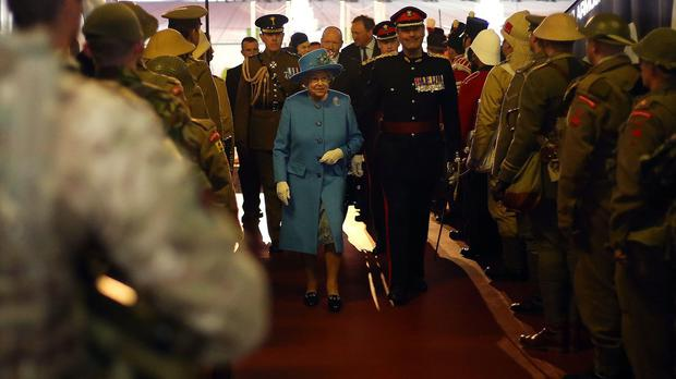 The Queen attends a Colours Parade for The Royal Welsh army unit at the Millennium Stadium in Cardiff, Wales