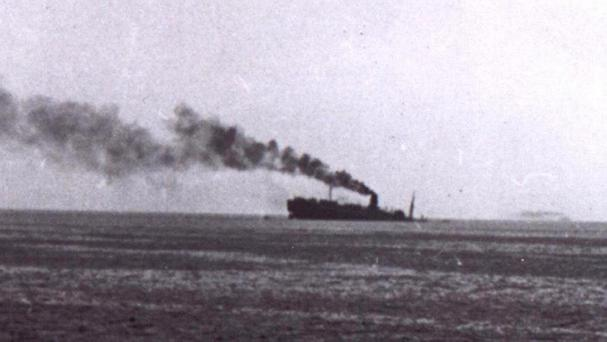 The Lancastria pictured after the attack