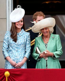The Duchess wearing that hat on Saturday watching the Trooping the Colour ceremony at Buckingham Palace