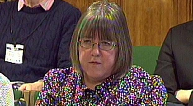 Sally Evans giving evidence to the Home Affairs Select Committee in the House of Commons
