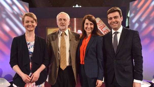 Labour leadership contestants Yvette Cooper, Jeremy Corbyn, Liz Kendall and Andy Burnham during the Newsnight broadcast (BBC/PA)