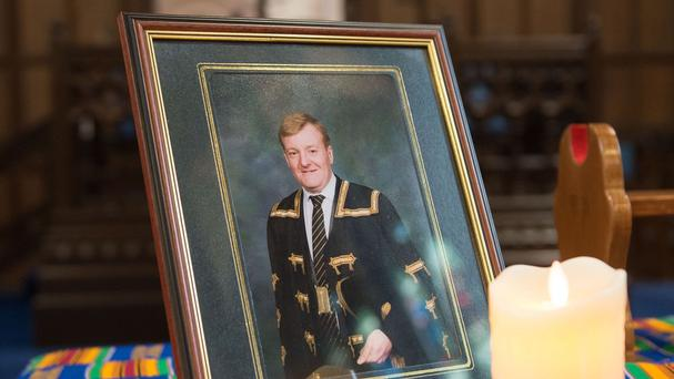 A photograph of Charles Kennedy at the memorial service for the former Liberal Democrat leader (University of Glasgow)