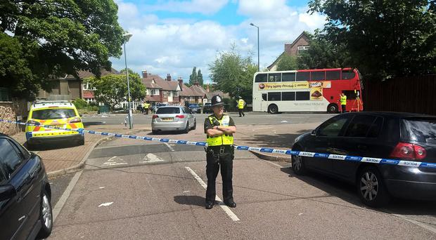 A police cordon in Antrobus Road at the junction of Grove Lane in Handsworth, Birmingham, where two sisters died after a car ploughed into a group of pedestrians