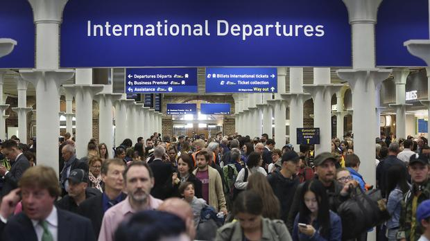 The scene at St Pancras International railway station in London, after Eurostar suspended all services due to migrant unrest in Calais