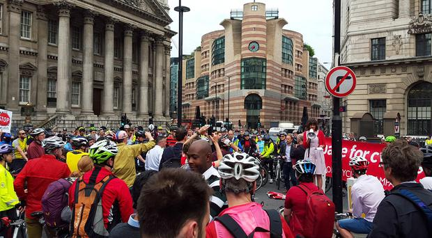 Hundreds of cyclists gather at Bank junction in protest at the eighth cycling death on the capital's roads so far this year