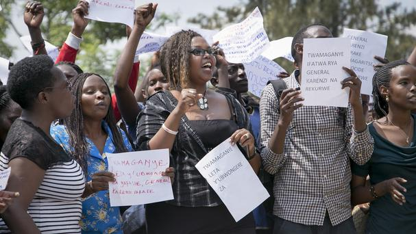 Protesters called for the release of Karenzi Karake outside the British High Commission in Kigali (AP)