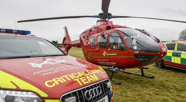 The sea rescue victims were airlifted to hospital in Swansea