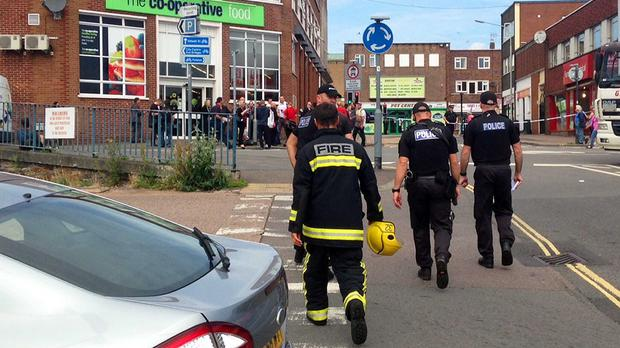 Emergency services at Exeter bus station following the discovery of two suspicious packages (Devon & Cornwall Police/PA)