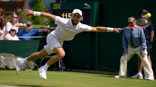 Liam Broady, pictured, faces a tough match against world number 16 David Goffin