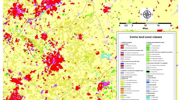 A graphic showing a land cover map of Leicestershire in 2012 ( University of Leicester/PA)