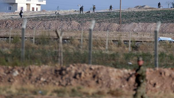 The Turkish side of the border between Turkey and Syria, in Akcakale, south-eastern Turkey (AP)