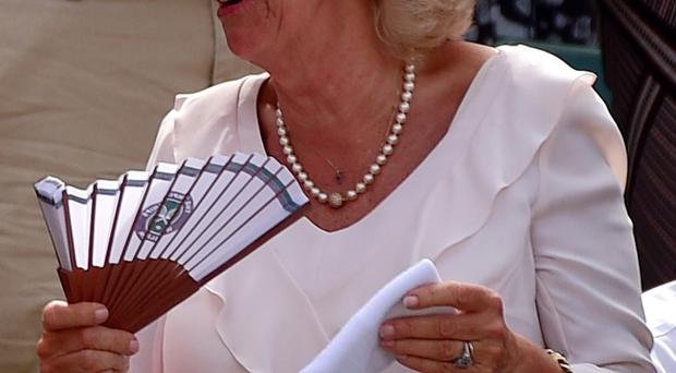 The Duchess of Cornwall holding Andy Murray's sweat band after he threw it into the crowd following his victory at Wimbledon yesterday