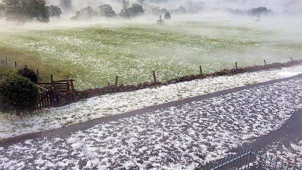 Photo taken with permission from the Twitter feed of @LindaScottYorks of hailstones that fell in Swaledale in the Yorkshire Dales (Linda Scott/PA)