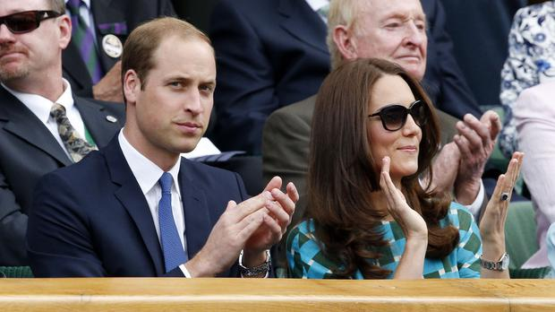 The Duke and Duchess of Cambridge in the Royal Box on Centre Court