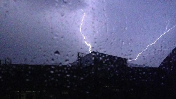 Forked lightning over Victoria, central London (Scott D'Arcy/PA)