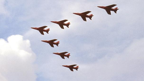 The RAF's Red Arrows team was to have performed at the July 4 celebration