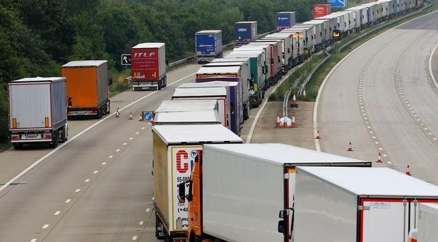 Lorries backed up on the M20 in Ashford, Kent