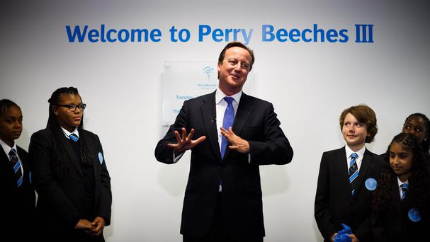 Prime Minister David Cameron at the opening of Perry Beeches III Free School in Birmingham