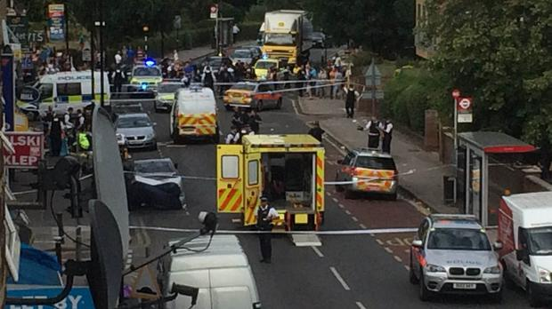 Emergency services attending the scene in Lordship Lane, Wood Green, north London