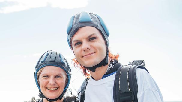 Stephen Sutton's mother Jane and brother Chris take part in a skydive in Lincolnshire (Teenage Cancer Trust/PA)