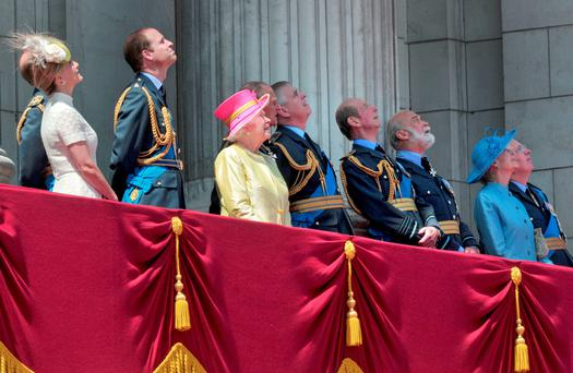 The Countess of Wessex; Earl of Wessex; Duke of Cambridge; Queen; Duke of Edinburgh; Duke of York; Duke of Kent; Prince Michael of Kent; Princess Alexandra, and the Duke of Gloucester view the RAF flypast to mark the 75th anniversary of the Battle of Britain