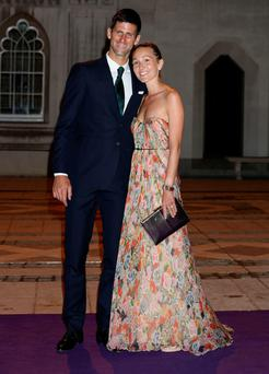 Novak and Jelena Djokovic attend the Champions Dinner at the Guildhall in London last night