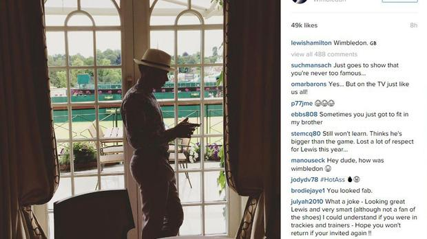 Lewis Hamilton posted a photo on Instagram of himself at Wimbledon after he fell foul of its strict dress code (lewishamilton/PA)