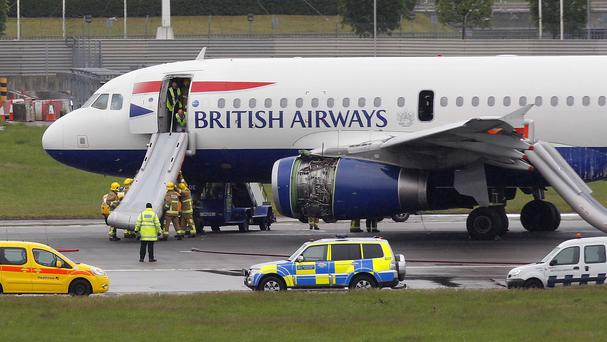 The British Airways Airbus A319 after its emergency landing at Heathrow airport