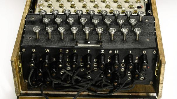 An Enigma machine, used by the German military to send coded messages during the Second World War, is expected to fetch £70,000 at auction at Sotheby's