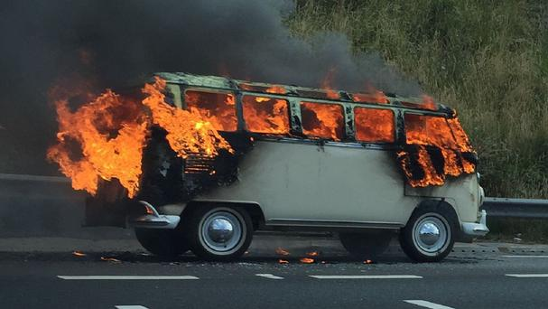 The blaze caused chaos on the M62