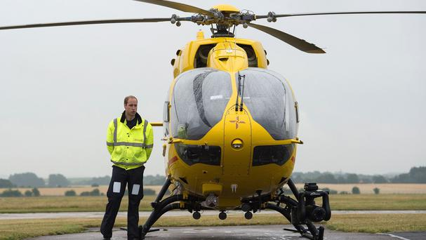 The Duke of Cambridge as he begins his new job with the East Anglian Air Ambulance