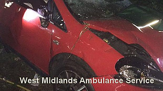 A car wreck found in woodland in Silverdale near Newcastle-under-Lyme, Staffordshire (West Midlands Ambulance Service/PA)