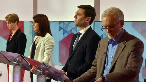 Labour leadership contenders Yvette Cooper, Liz Kendall, Andy Burnham and Jeremy Corbyn during a Labour leadership hustings debate on BBC1's Sunday Politics (BBC/PA)