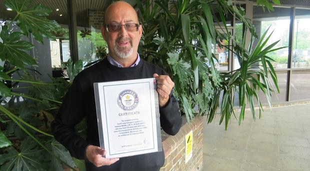 Andrew Whitby has been named the longest surviving heart-lung transplant recipient by Guinness World Records (Royal Brompton & Harefield NHS Foundation Trust/PA)