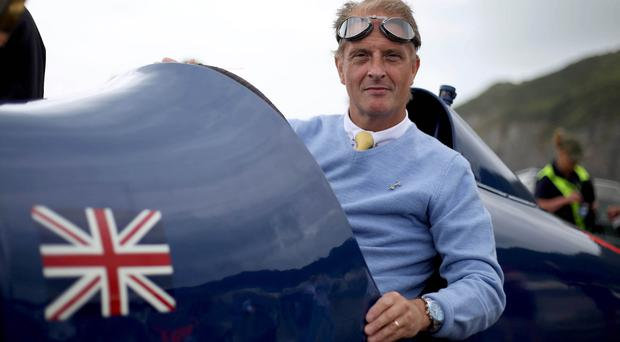 Don Wales in the historic Sunbeam nicknamed Blue Bird, which was once owned by Sir Malcolm Campbell
