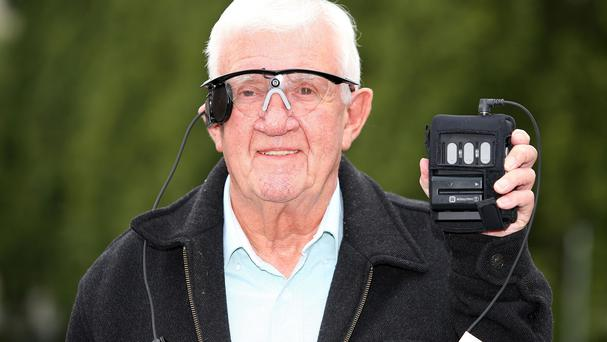 Raymond Flynn speaks during a press conference at the Manchester Royal Infirmary, after he had his central vision restored for the first time in nearly a decade thanks to a bionic eye