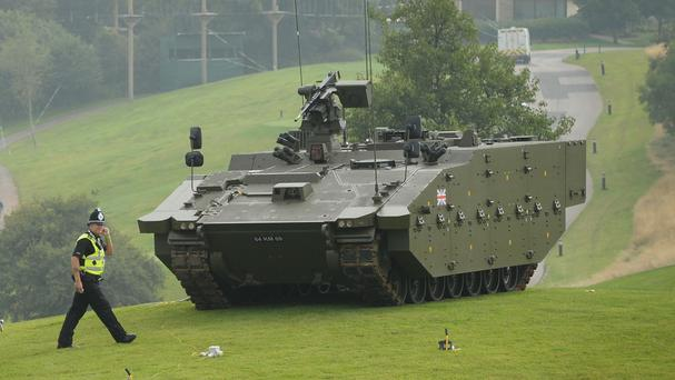 A Scout Specialist Vehicle on display ahead of a Nato summit in Wales