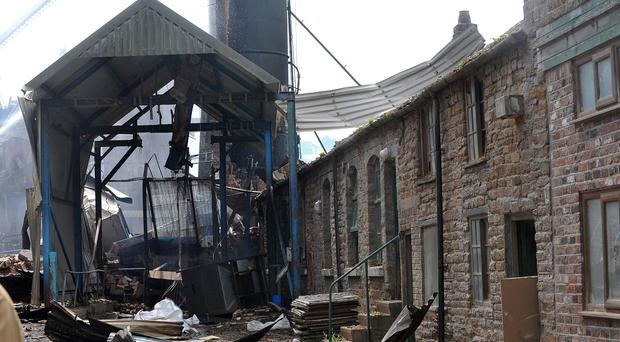 The scene of the explosion and fire in Bosley, Cheshire