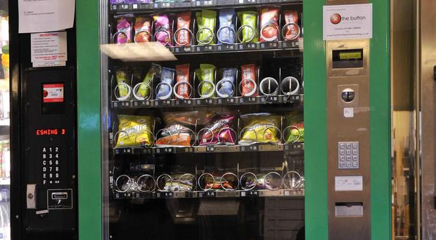 A healthy vending machine containing seed bars and low fat crisps