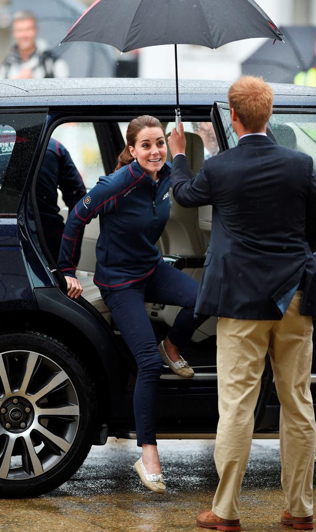 Ahoy there: the Duchess of Cambridge arrives at the Royal Navy Historic Dockyard, Portsmouth, yesterday