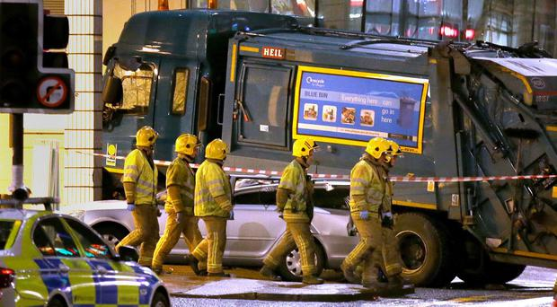 Six people were killed when the bin lorry mounted the pavement in Glasgow city centre just before Christmas last year