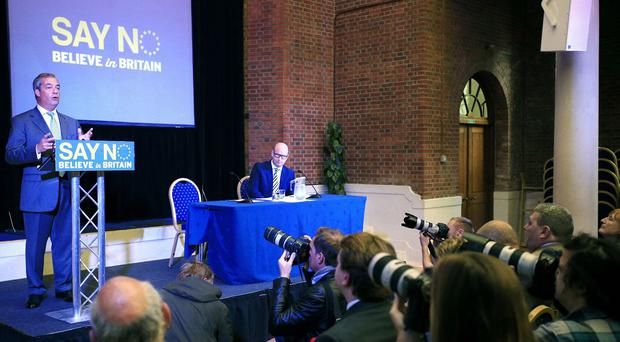 Ukip leader Nigel Farage during a speech supporting the No campaign in the upcoming EU referendum