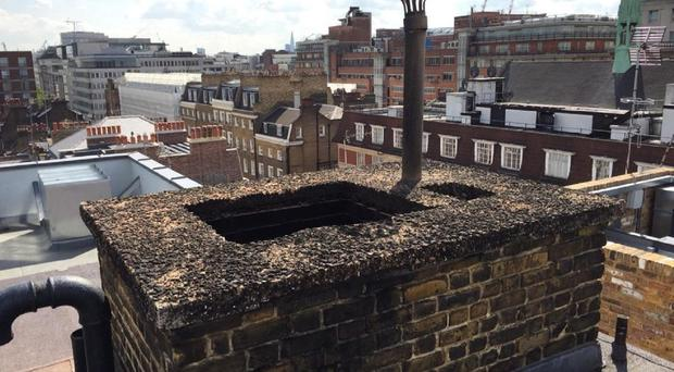 The roof of Great Cumberland Place where 20-year-old man fell down a chimney and died