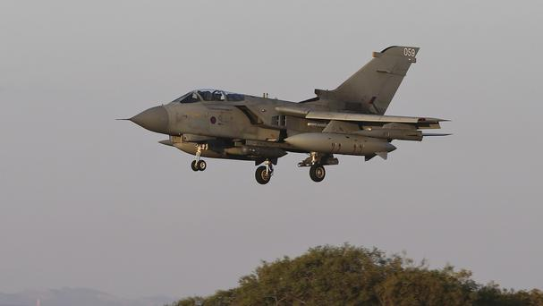 A RAF Tornado GR4 returns to RAF Akrotiri in Cyprus following a mission over Iraq