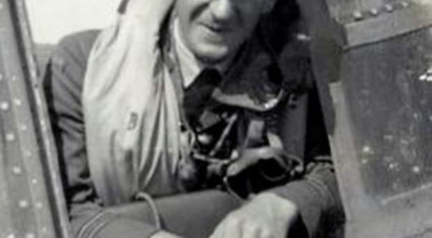 Les Munro in the cockpit of his plane