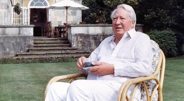 Sir Edward Heath pictured in 1989 in the garden of his home in Salisbury (AP)