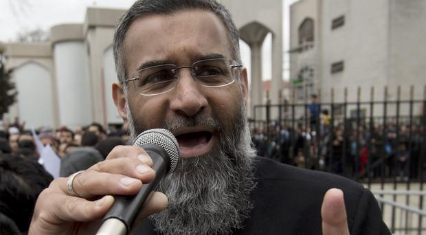 Anjem Choudary making a speech outside London Central Mosque