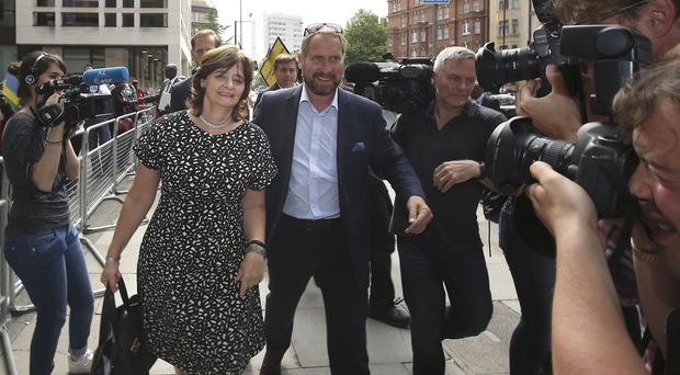 Cherie Blair leaves Westminster Magistrates' Court in London after an earlier hearing in the case of Rwanda Intelligence chief Karenzi Karake
